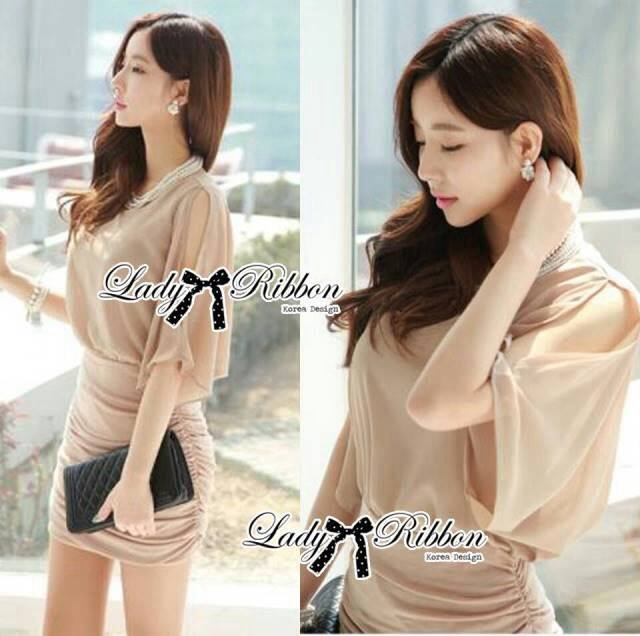 DR-LR-180 Lady Christine Sophisticated Sexy Dress in Nude