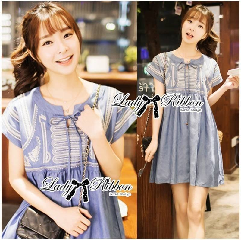 Lady Sweet Effortless Embroidered Denim Dress L152-65C03