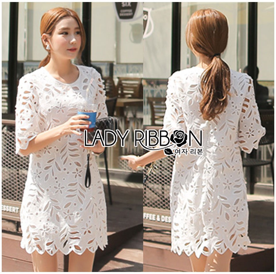 Lady Katie Embroidered and Laser-Cut Guipure Lace Dress in White L261-7510