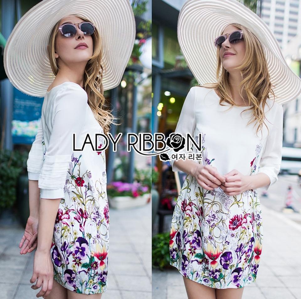 Lady Melissa Pretty Feminine Floral Printed Layer-Sleeve Dress L205-69B02