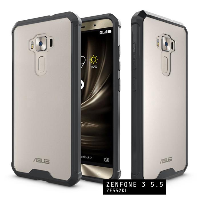 เคส Zenfone 3 ( ZE552KL ) 5.5 นิ้ว เคส Hybrid ฝาหลังอะคริลิคใส ขอบยางกันกระแทก สีดำ