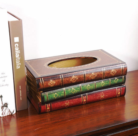กล่องทิชชู่ไม้รูปหนังสือ