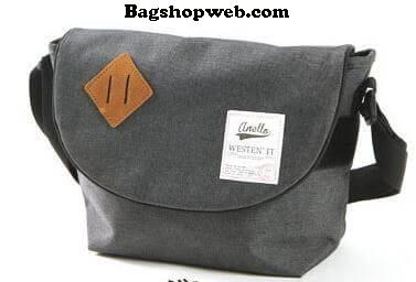 กระเป๋า ANELLO POLYESTER CANVAS SHOULDER BAG สีเทา