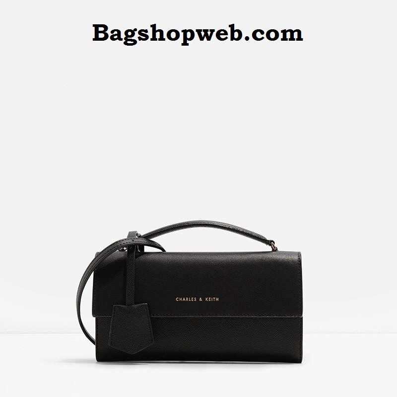 กระเป๋าเงิน กระเป๋าครัช Charles & Keith Top Handle Clutch Bag สีดำ ราคา 1,090 บาท Free Ems
