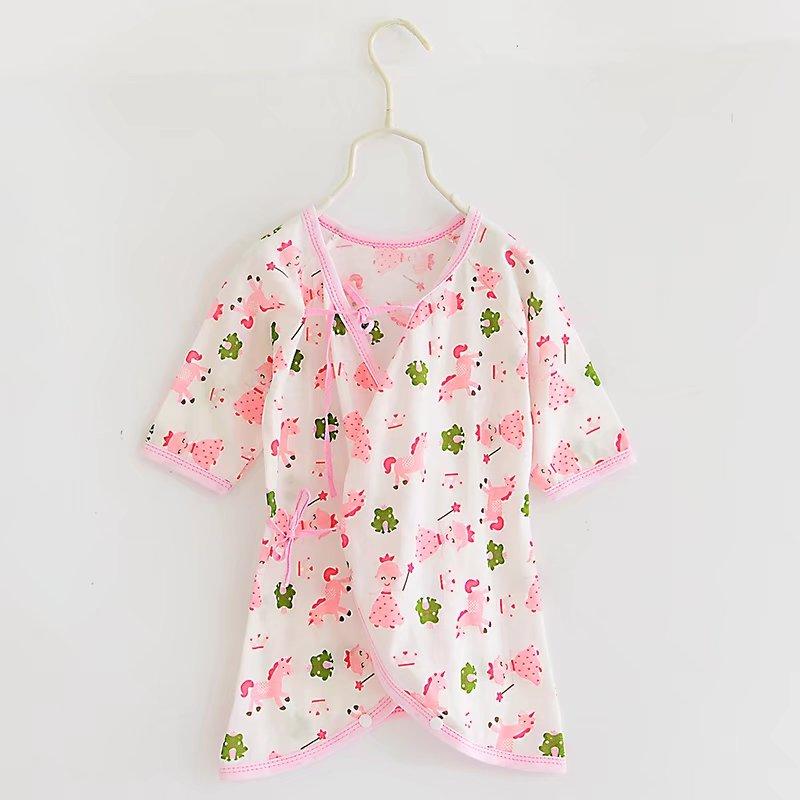 ชุดเด็กอ่อน แรกเกิด ผูกหน้า เป้ากระดุมสำหรับเปลี่ยนผ้าอ้อม - Pink