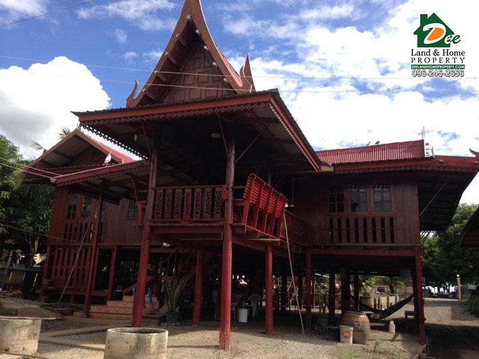 เรือนไทยไม้สัก 2 หลังคู่ ริมน้ำ บ้านบางสะแก บางตะเคียน สองพี่น้อง สุพรรณบุรี