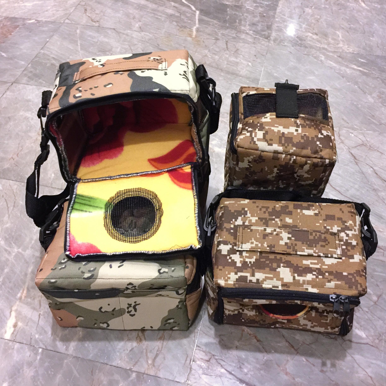 กระเป๋าผ้า ลายทหาร(น้ำตาล) (ใส่กรง#1 ได้)