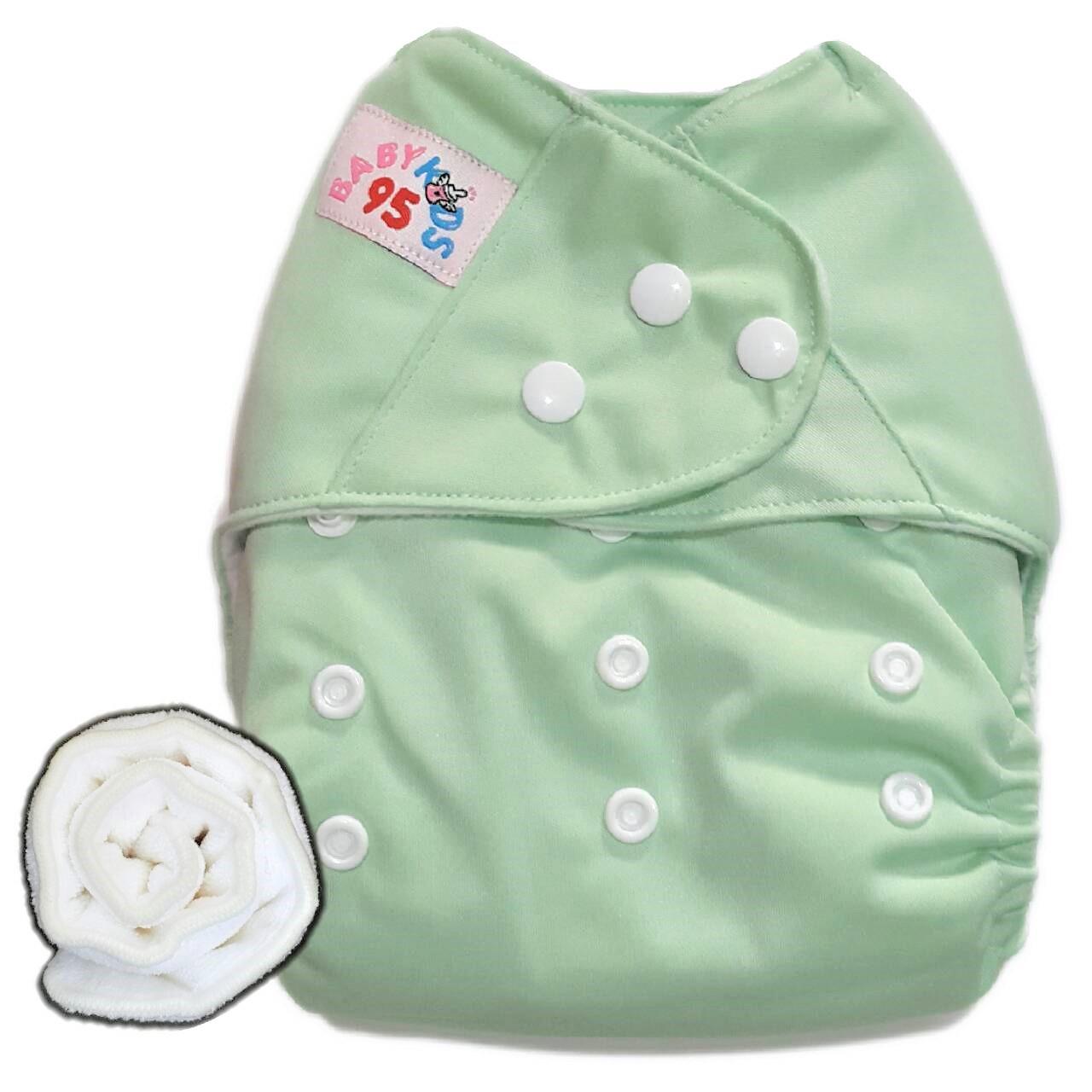 กางเกงผ้าอ้อมกันน้ำ+แผ่นซับไมโครฯหนา3ชั้น Size 3-16 kg.-Light Green