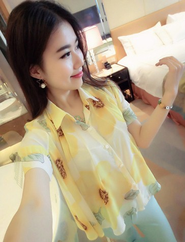เสื้อทำงานแฟชั่นสไตล์เกาหลีสวยๆ เสื้อแขนสั่นสีเหลือง คอปก ผ้าชีฟองเนื้อผ้าบางเบาใส่สบาย กระดุมผ่าหน้า แถมฟรีเสื้อซับในสีขาว ,