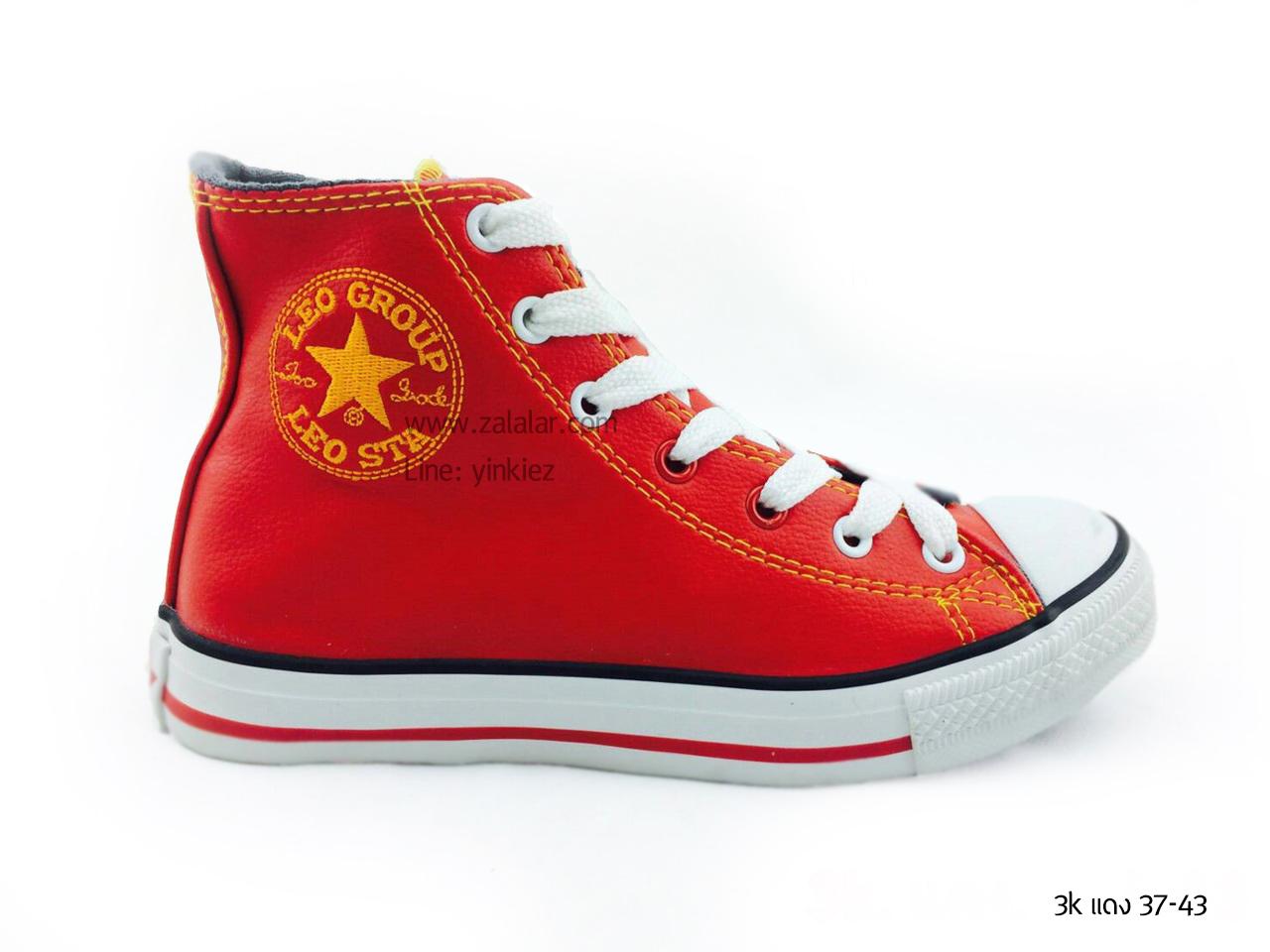 [พร้อมส่ง] รองเท้าผ้าใบแฟชั่น (หุ้มข้อ) รุ่น 3K สีแดง แบบหนัง