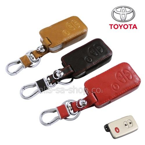 ซองหนังแท้ ใส่กุญแจรีโมทรถยนต์ Toyota,Prius,Camry,Keyless รุ่น ป้ายเงิน 3 ปุ่ม