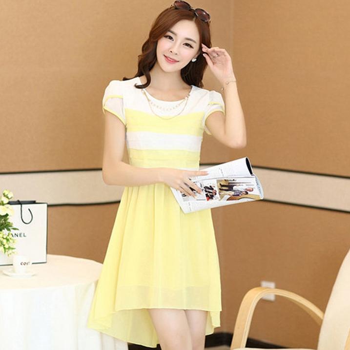ชุดเดรสทำงานสวยๆ ชุดเดรสสั้นสีเหลือง ผ้าชีฟอง เนื้อผ้าดี ( S M L XL )