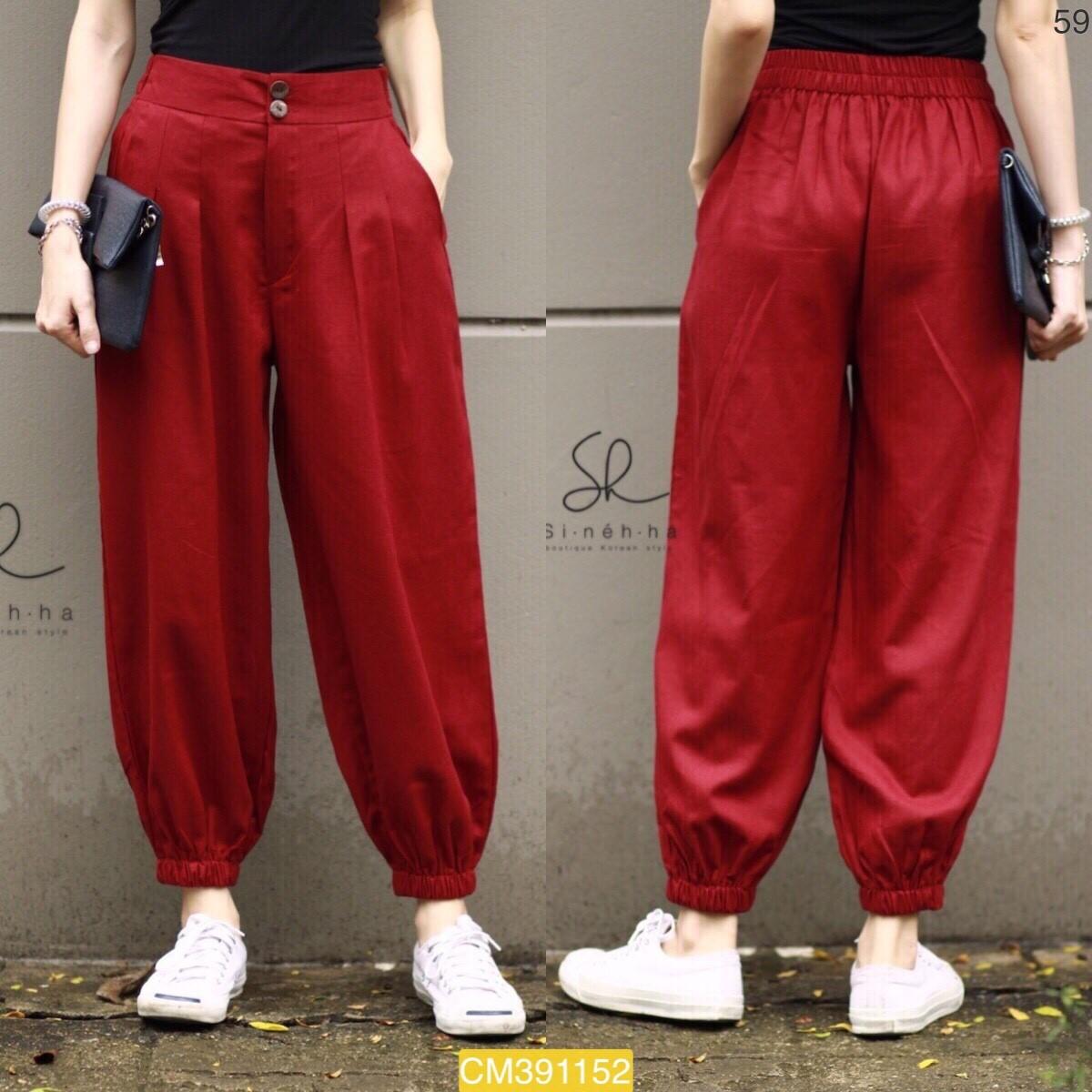 """CM1152 *สีแดง* เอว27-38"""" กางเกงขากระบอกเล็กแต่งสม็อค"""
