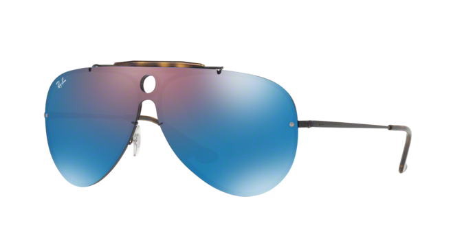 RayBan Shooter RB3581N 153/7V DEMIGLOS BLACK Dark Violet Mirror Blue