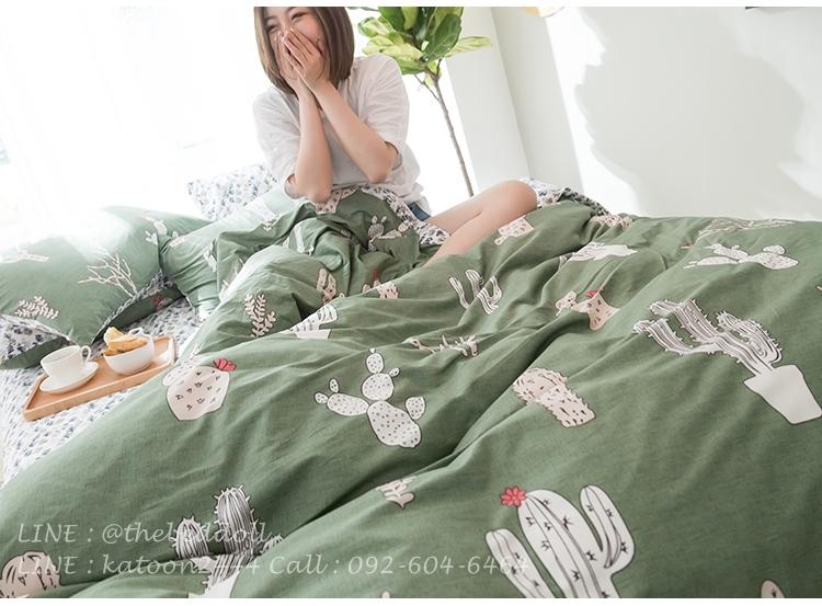 ผ้าปูที่นอน ลายต้นตะบองเพชร สีเขียว-ขาว