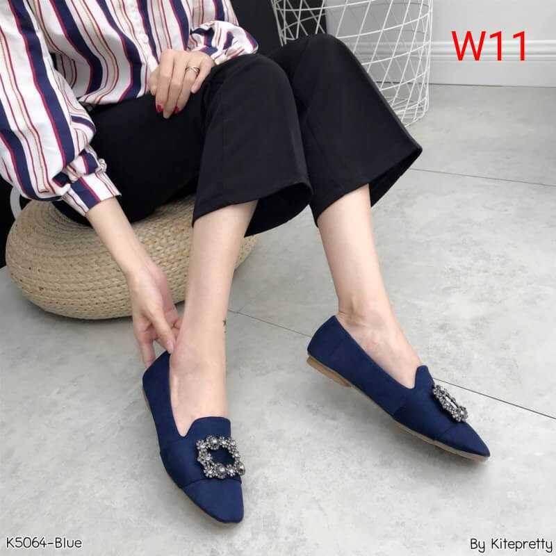 รองเท้าคัทชู ส้นเตี้ย ผ้าสักหราดแต่งอะไหล่สวยหรู ทรงสวย หนังนิ่ม ใส่สบาย แมทสวยได้ทุกชุด (K5064)