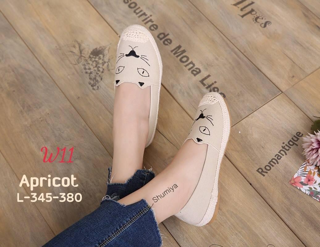 รองเท้าคัทชู ทรง slip on แต่งลายหน้าแมวสวยเก๋น่ารัก ขอบแต่งเชือกถักสไตล์วินเทจ หนังนิ่ม ทรงสวย ใส่สบาย แมทสวยได้ทุกชุด (L-345-380)