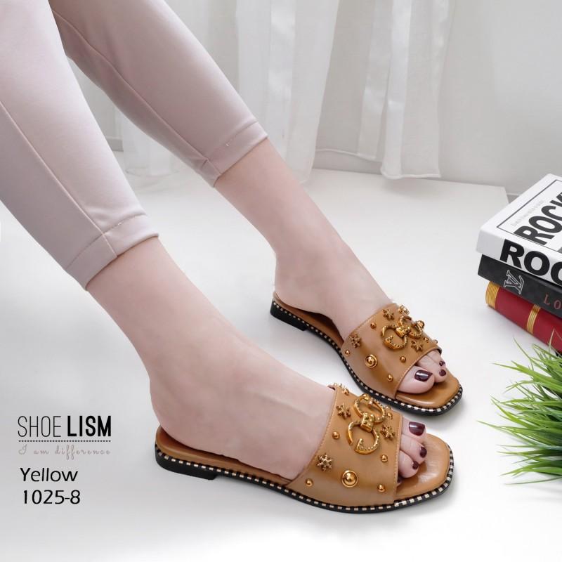 รองเท้าแตะแฟชั่น แบบสวม แต่งหมุดดาวและอะไหล่สไตล์แบรนด์สวยหรู หนังนิ่ม ทรงสวย ใส่สบาย แมทสวยได้ทุกชุด (1025-8)