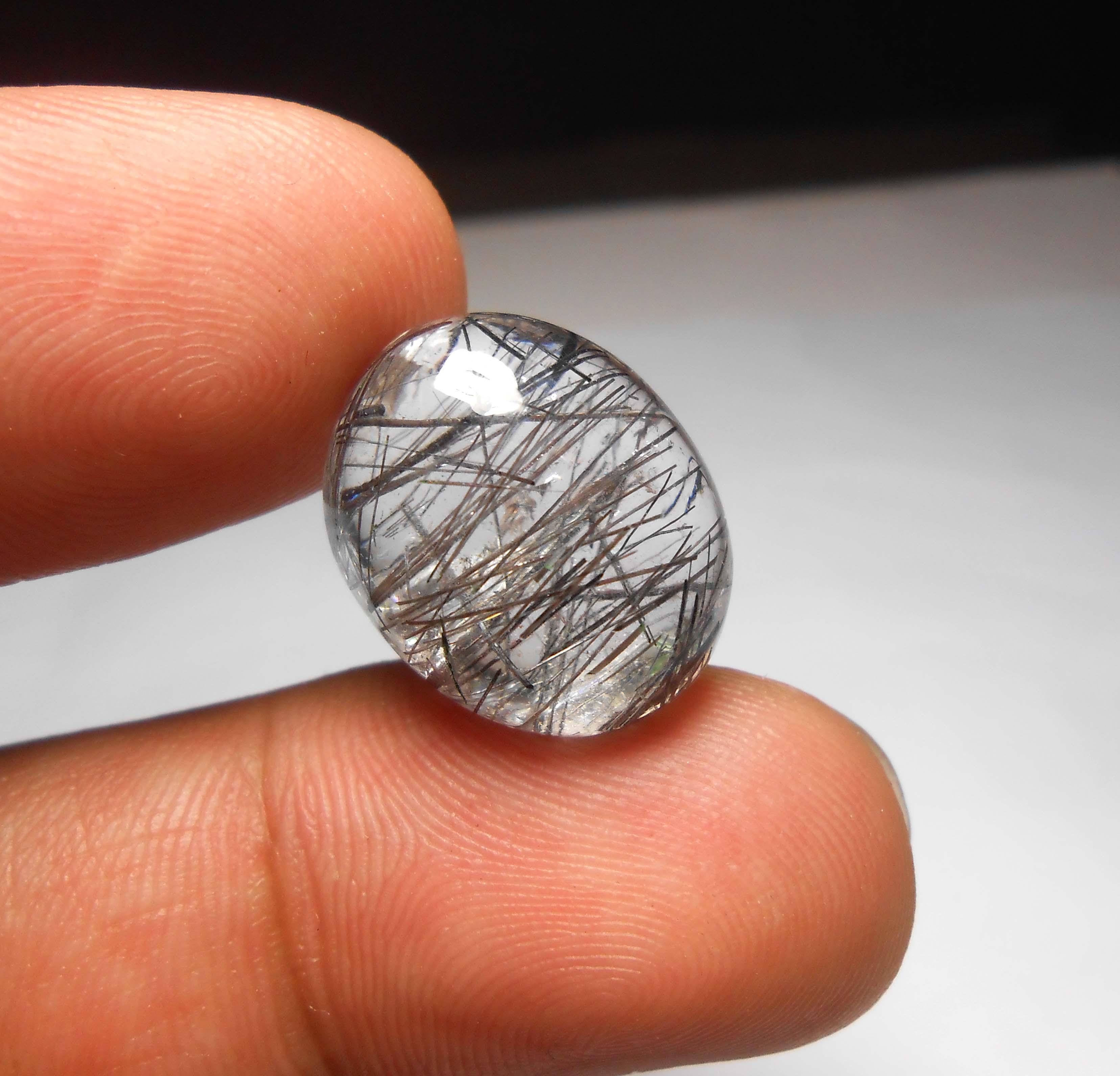 แก้วขนเหล็ก เส้นแกร่ง น้ำใสงาม ขนาด1.9x 1.5 cm ทำแหวน จี้ งามๆ