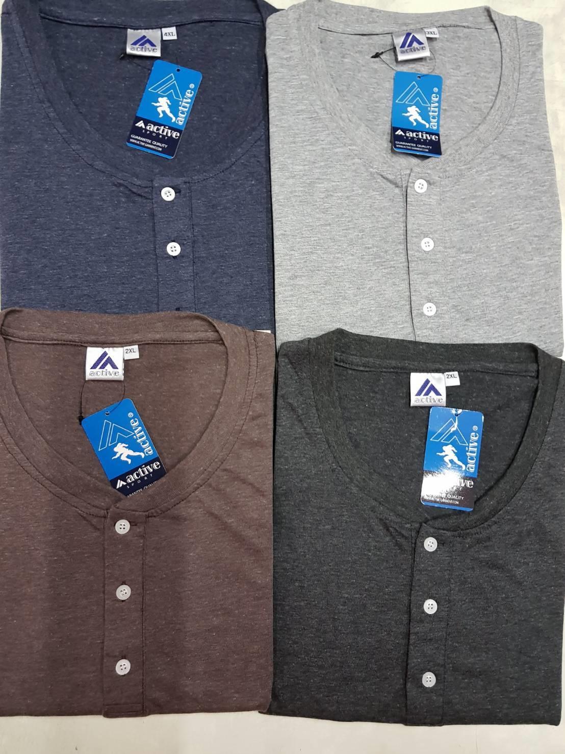 เสื้อยืดแขนสั้นกระดุมผ้านิ่ม 2XL 3XL 4XL สีกรม , เทาดำ , เทาอ่อน , น้ำตาล