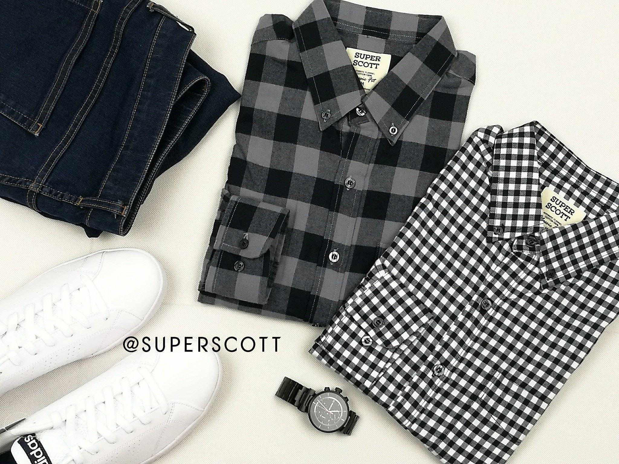 เสื้อลายสก๊อตสีขาวดำ