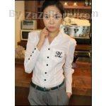 K488 *หมดค่ะ*เสื้อสีขาว ผ้าcotton ปกเชิ๊ต ตัวเสื้อเย็บเข้ารูป มีก
