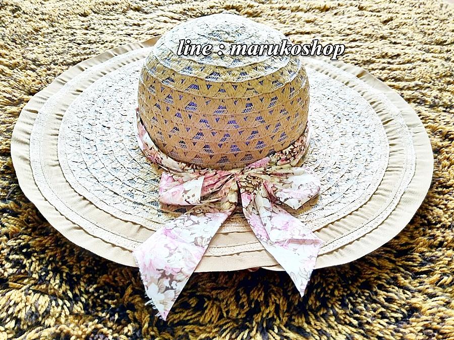 หมวกปีกกว้าง หมวกเที่ยวทะเล หมวกสานโทนน้ำตาล แต่งโบว์วินเทจรอบเก๋ ๆ