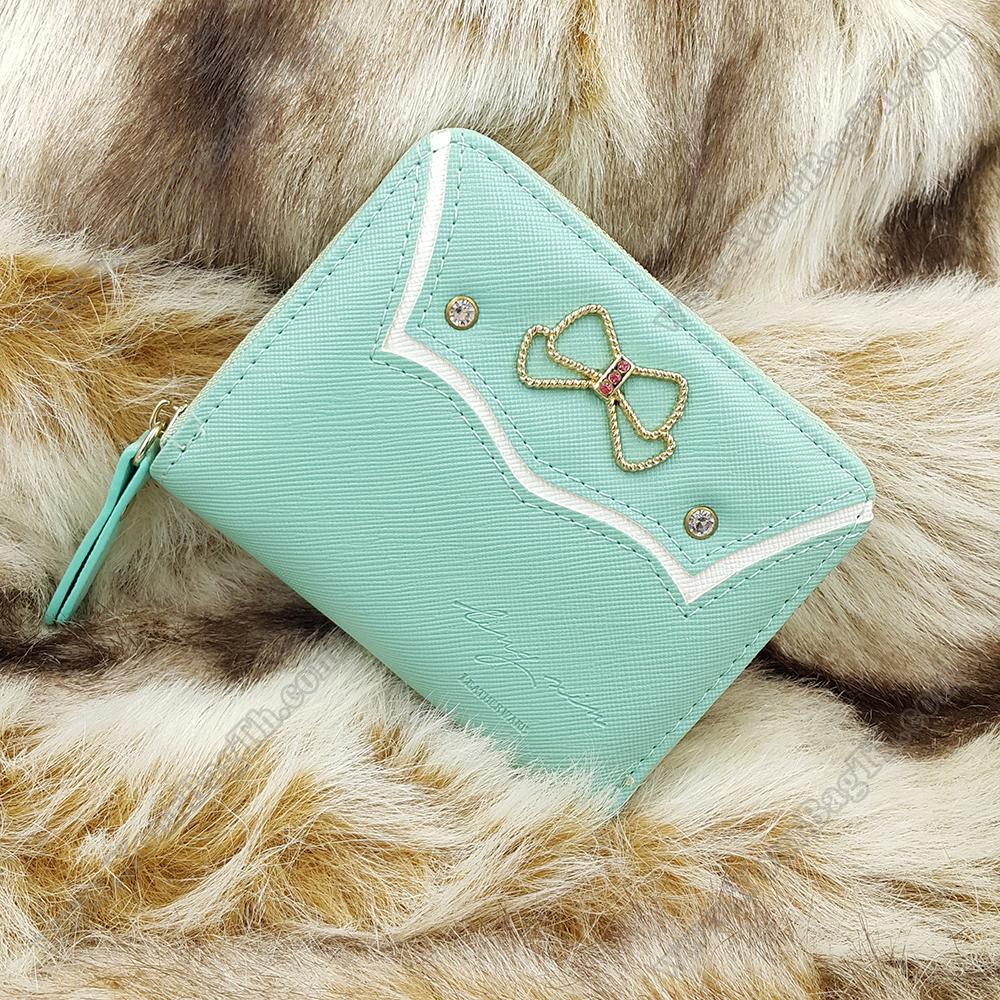 กระเป๋าสตางค์ผู้หญิงทรงสั้นซิป สีเขียวมิ้น