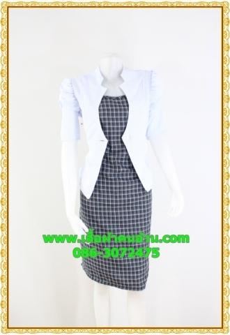 2394ชุดทํางาน เสื้อผ้าคนอ้วนแจ๊คเก็ตขาวคลุมด้านนอกคล้ายสวมทับเกาะอกด้านในสไตล์สาวมั่นใจ คล่องตัว