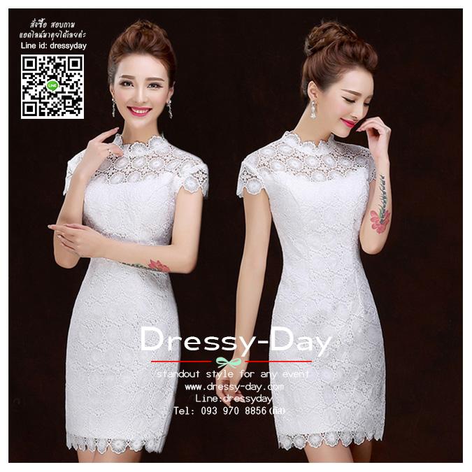 รหัส ชุดกี่เพ้า : BA226 ชุดกี่เพ้า แขนกุดสีขาว คอจีน ผ้าลูกไม้สวยๆ น่ารักๆ เหมาะยกน้ำชา ใส่ออกงานแต่งงาน งานหมั้น