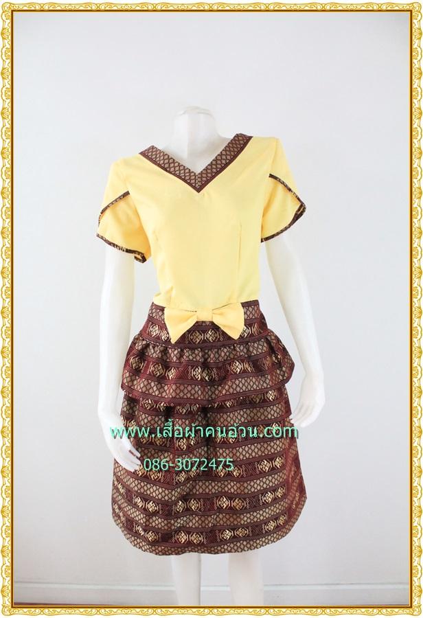 3169เสื้อผ้าคนอ้วนผ้าไทยเนื้อทอ2หน้าซับผ้ากาวอย่างดีสีแดงสลับเหลืองแขนกลีบบัวแต่งโบเอวกระโปรงมีระบาย