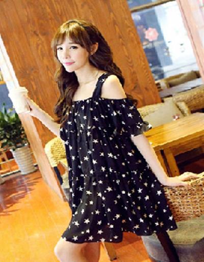 ชุดเดรสแฟชั่นกึ่งเสื้อ ผ้าชีฟองสวยหวานสไตล์เกาหลี มี 2 สี(ดำ/ขาว)-1033