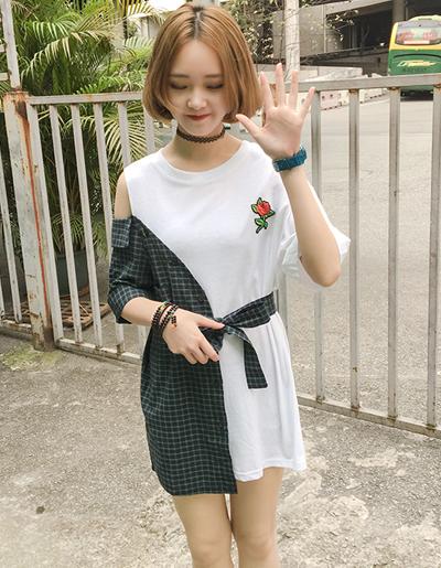 เสื้อแฟชั่นแต่งสองสีสุดแนว เปิดไหล่ปักกุหลายแดงสวยเก๋สไตล์เกาหลี-1619-สีเขียว