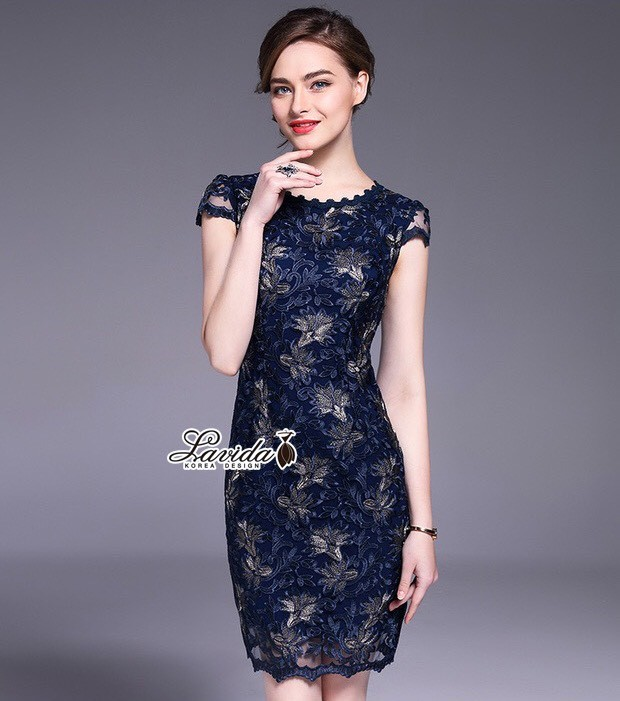 Korea Design By Lavida Flower embroidery stitching lace dress