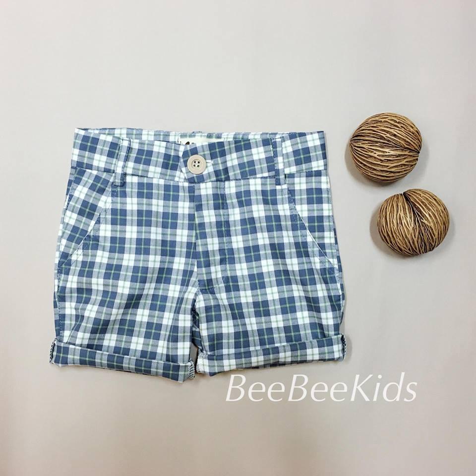 กางเกงสามส่วนเด็ก ลายสก็อต สีฟ้า (S M L)