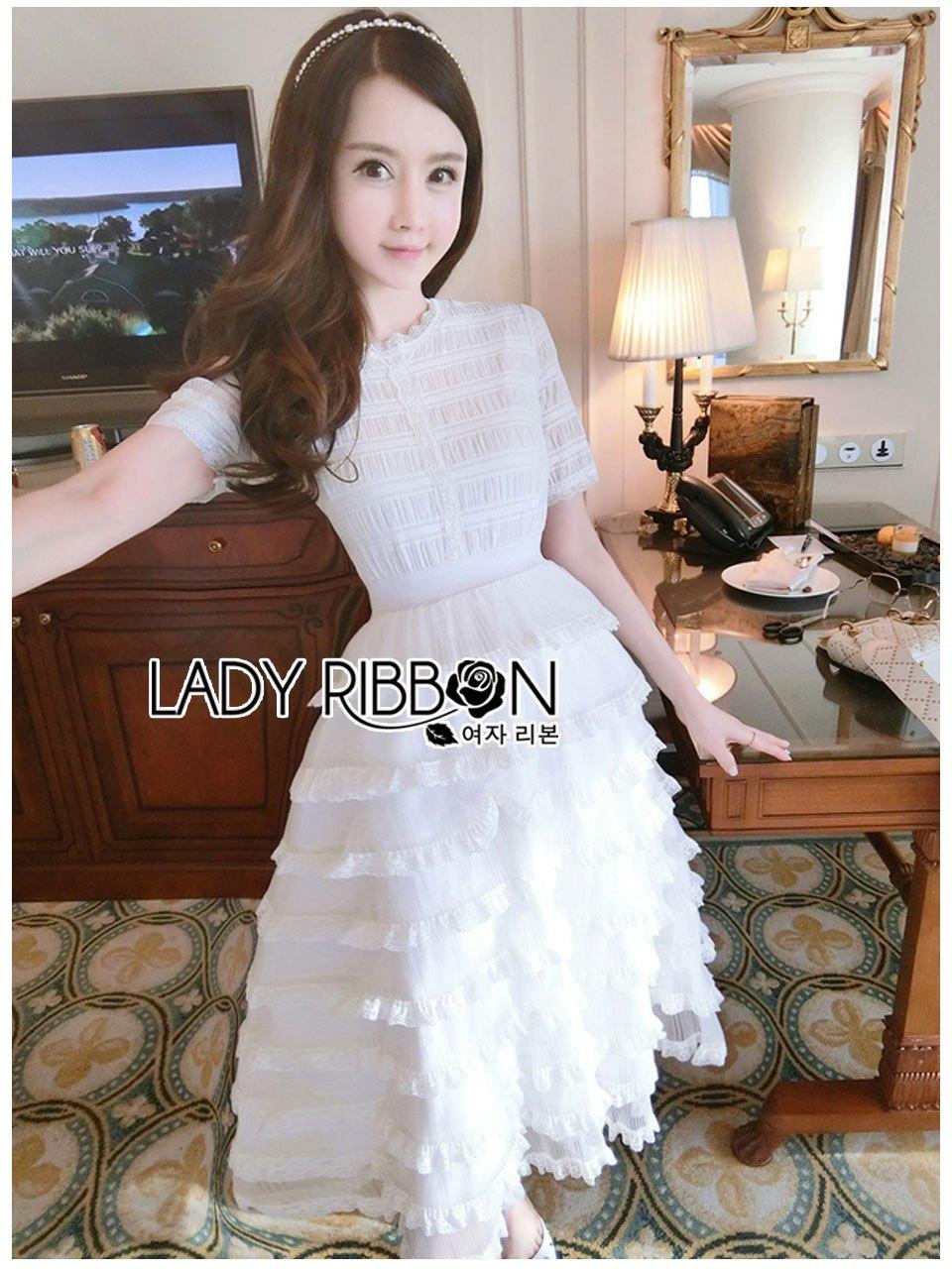 🎀 Lady Ribbon's Made 🎀Lady Ariana Ruffle & Layered White Mixed Fabric Dress