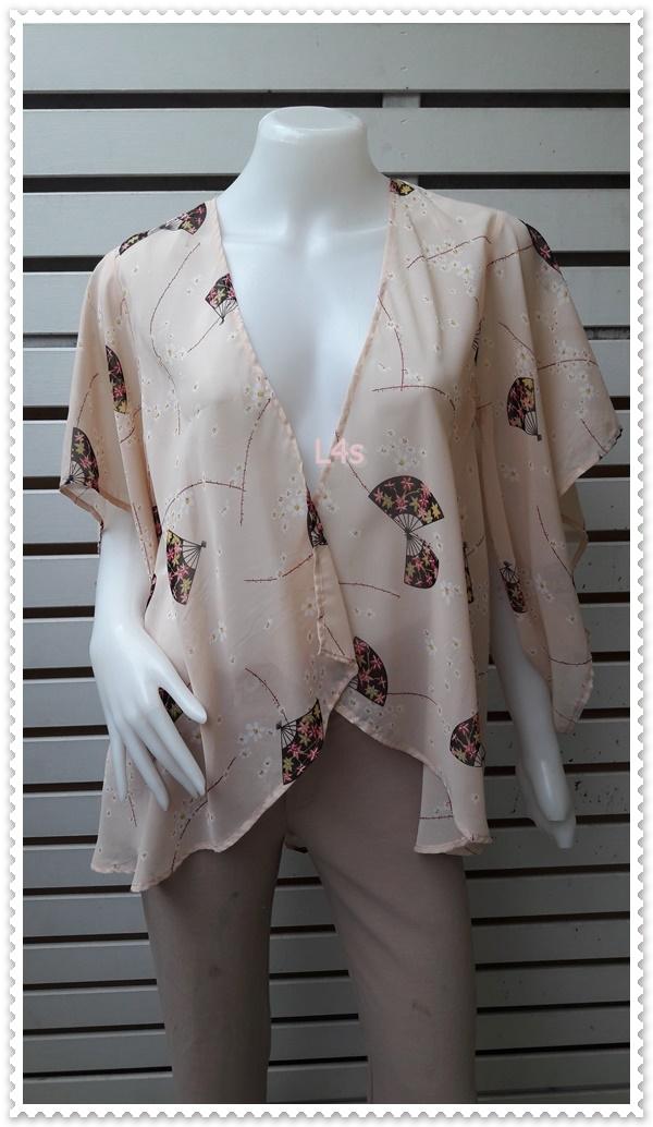 BN4869--เสื้อผ้ามือสอง--เสื้อคลุมแฟชั่น ชีฟอง สีโอรส Forever21 อก free