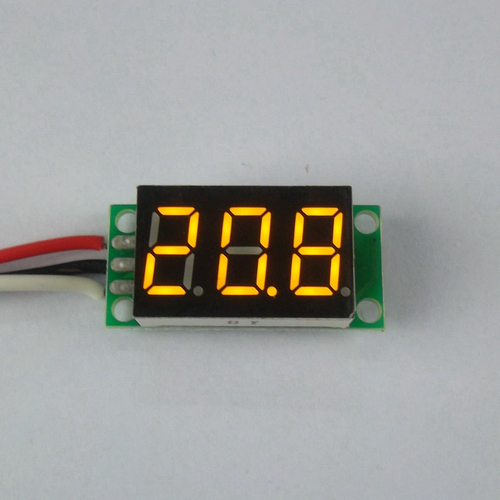 โวลต์มิเตอร์ ดิจิตอล 0-100v จอขนาด 0.36 นิ้ว สีเหลือง