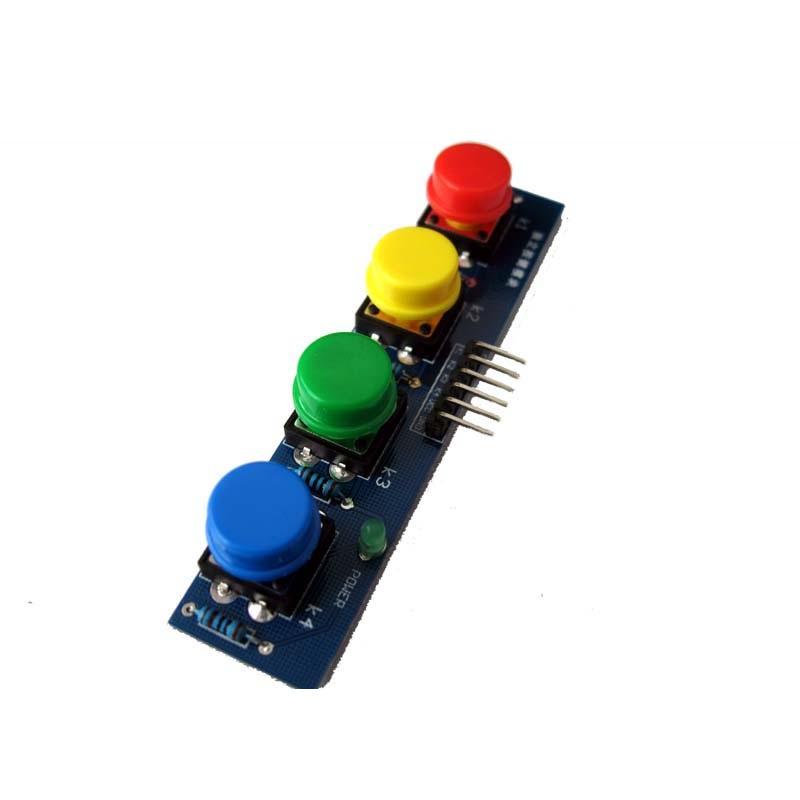 โมดูลสวิทซ์กดติดปล่อยดับ 4 ปุ่ม 4 สี สำหรับ Arduino