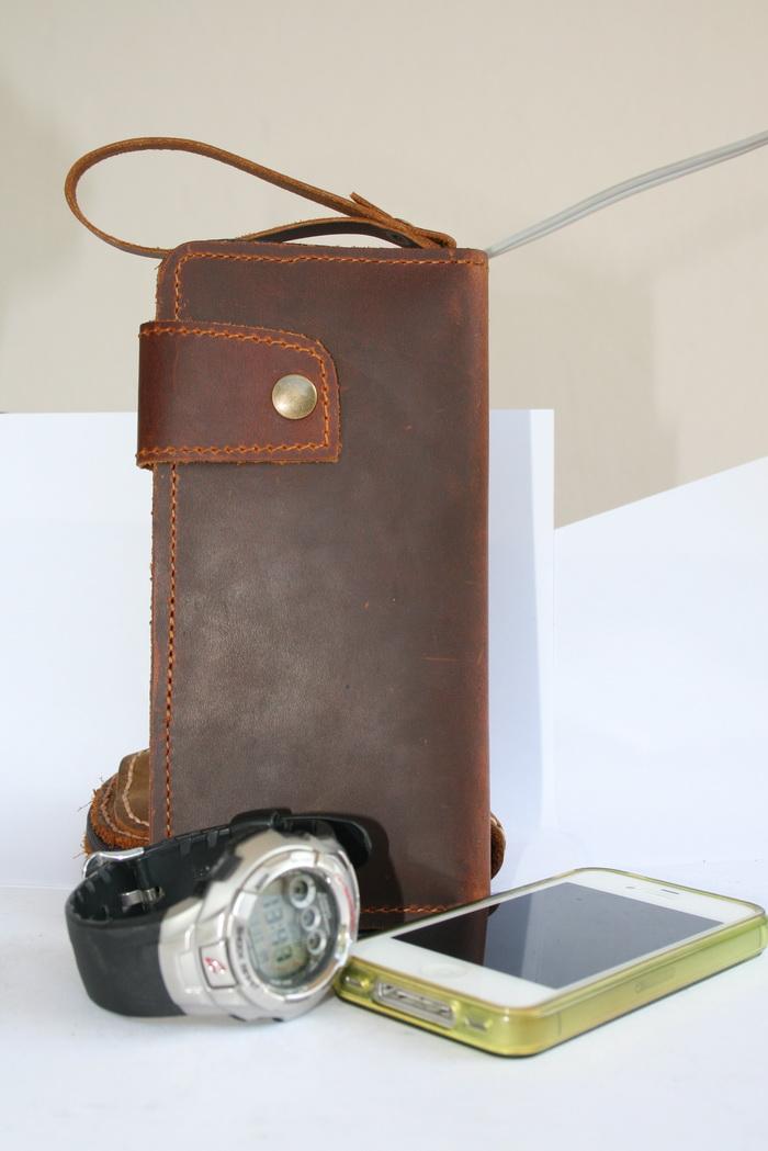 กระเป๋ามือสอง กระเป๋าสตางค์ ใบยาว หนังนูบัค แนววินเทจ สภาพดีมาก