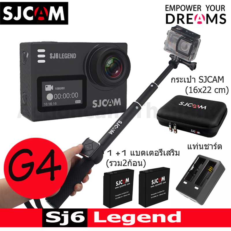 SJ6LEGEND + Battery +Dual Charger + Remote selfie + SJCAM Bag