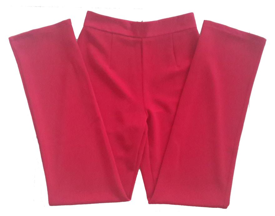 กางเกงขายาวผ้าฮานาโกะ ขากระบอกเอวสูง สีเลือดหมู