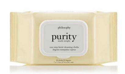 Philosophy purity made simple one-step facial cleansing cloths [30ct] เช็ดทำความสะอาดผิวหน้า สิ่งสกปรก และทำความสะอาดเครื่องสำอางได้อย่างหมดจด ด้วยหนึ่งขั้นตอนการทำความสะอาดผิวหน้า
