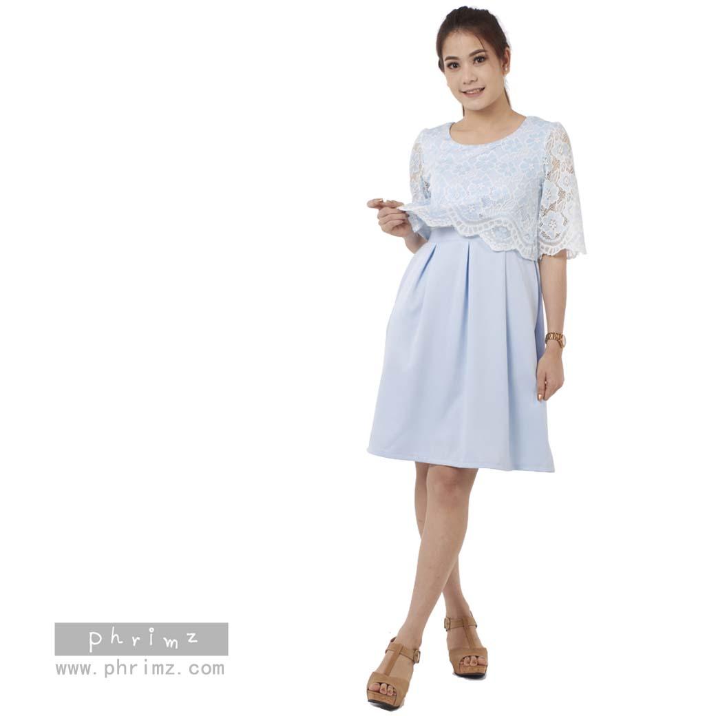 ชุดให้นม Phrimz : Lucy Breastfeeding Dress - Blue