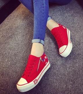 รองเท้าผ้าใบพื้นหนาแฟชั่นประดับซิปข้าง