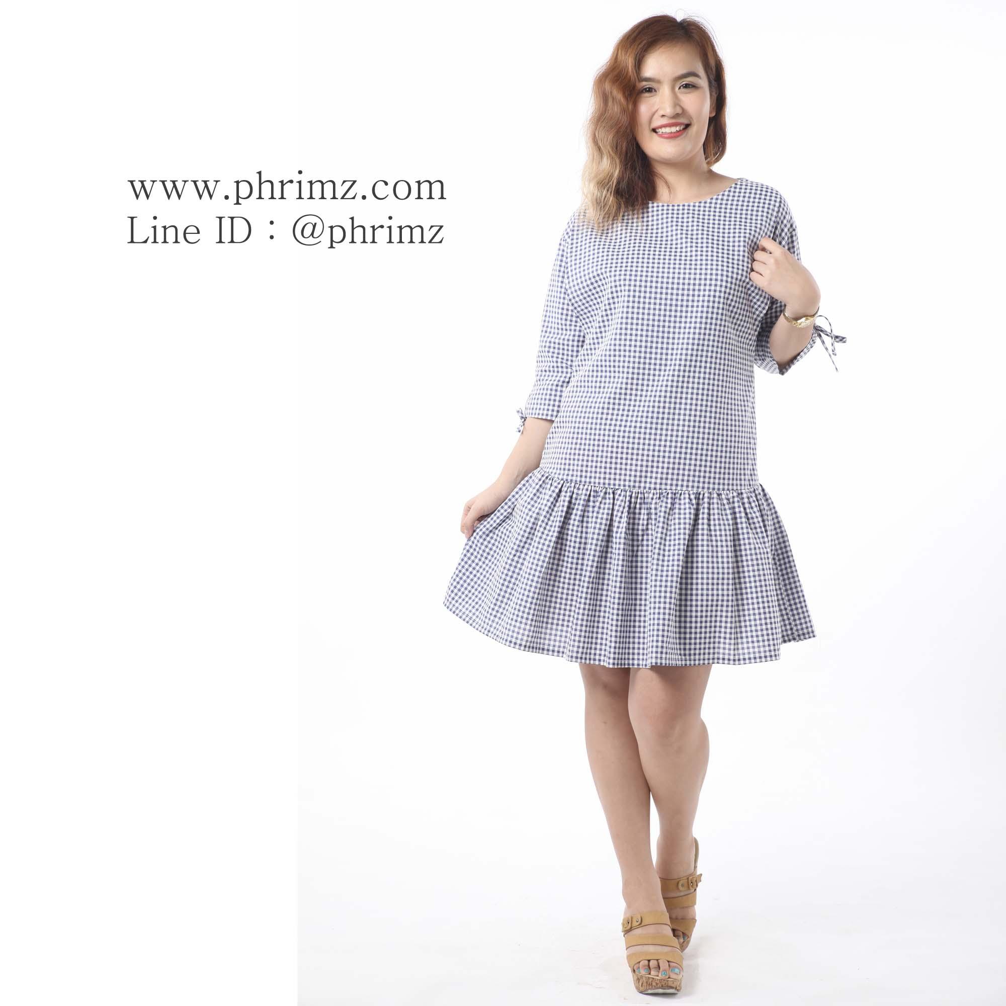 ชุดให้นม Phrimz : Briony Breastfeeding Dress - Navy Blue สีกรมท่า