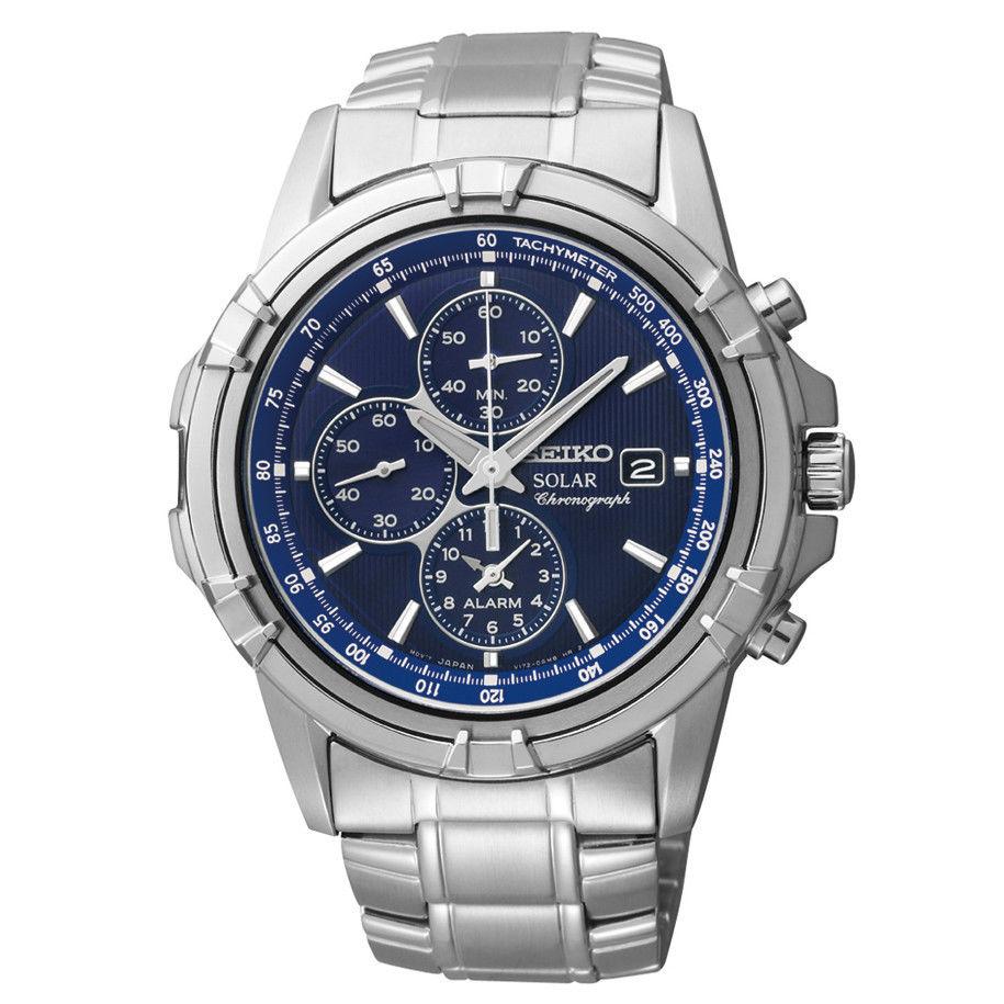 นาฬิกาผู้ชาย Seiko รุ่น SSC141, Solar Alarm Chronograph