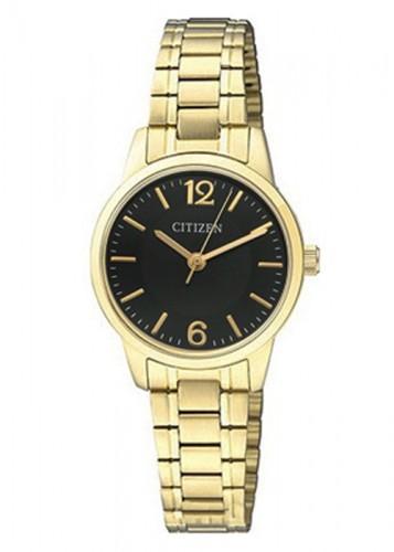 นาฬิกาผู้หญิง Citizen รุ่น EJ6083-59E, Dress Quartz Black Dial Gold