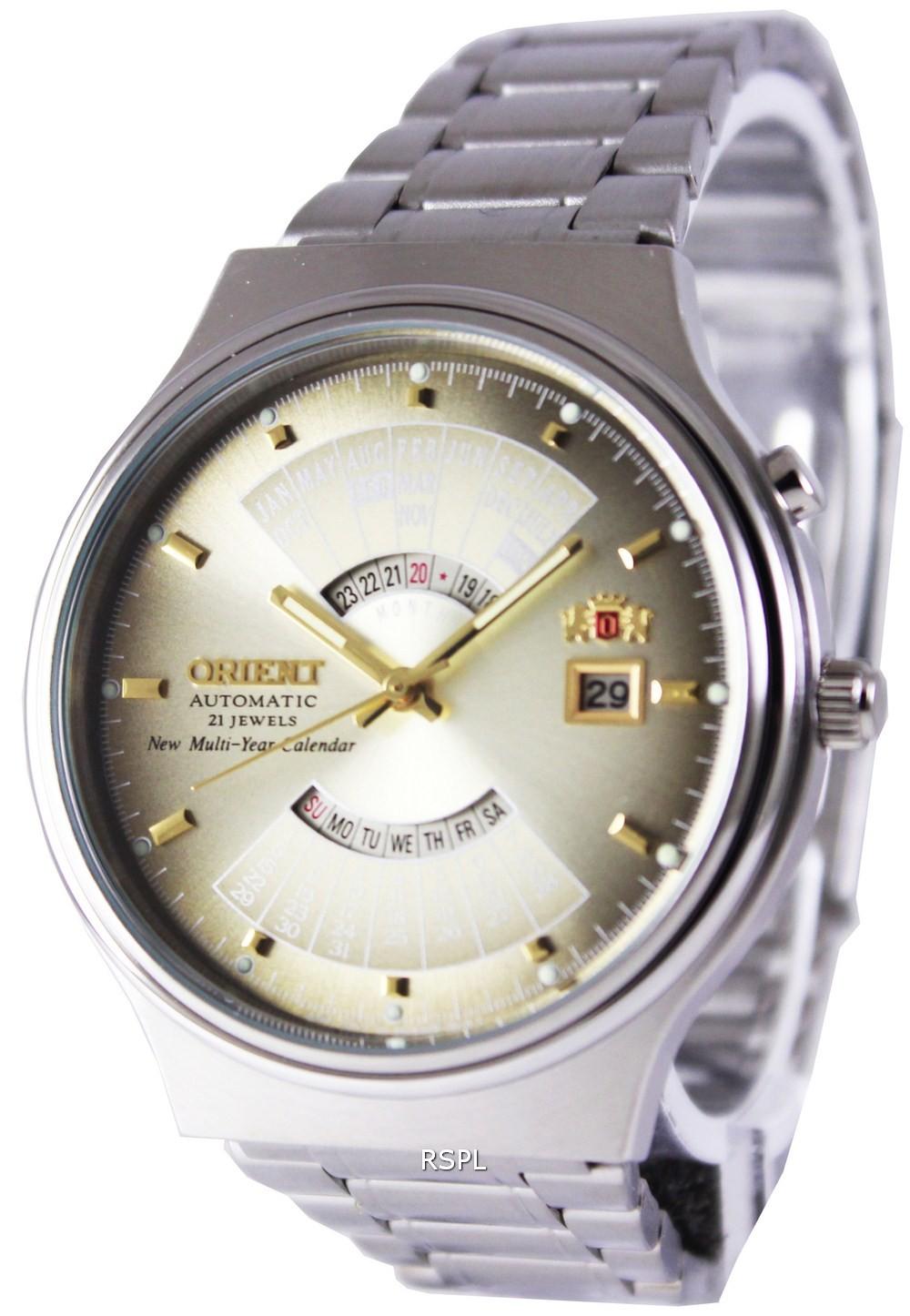 นาฬิกาผู้ชาย Orient รุ่น FEU00002UW, Automatic 21 Jewels Multi Year Calendar