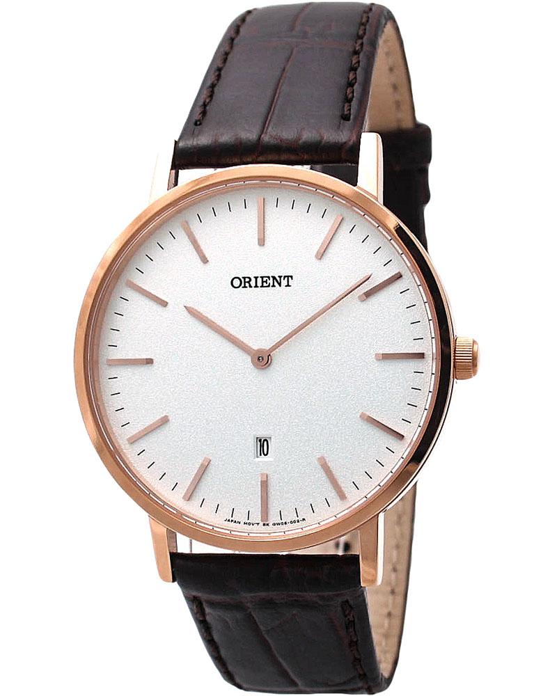 นาฬิกาผู้ชาย Orient รุ่น FGW05002W, Slim Collection Minimalist Leather Strap Quartz Men's Watch